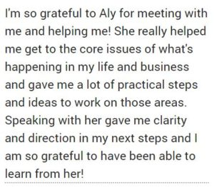 Life Coaching Testimonial with Aly Hathcock